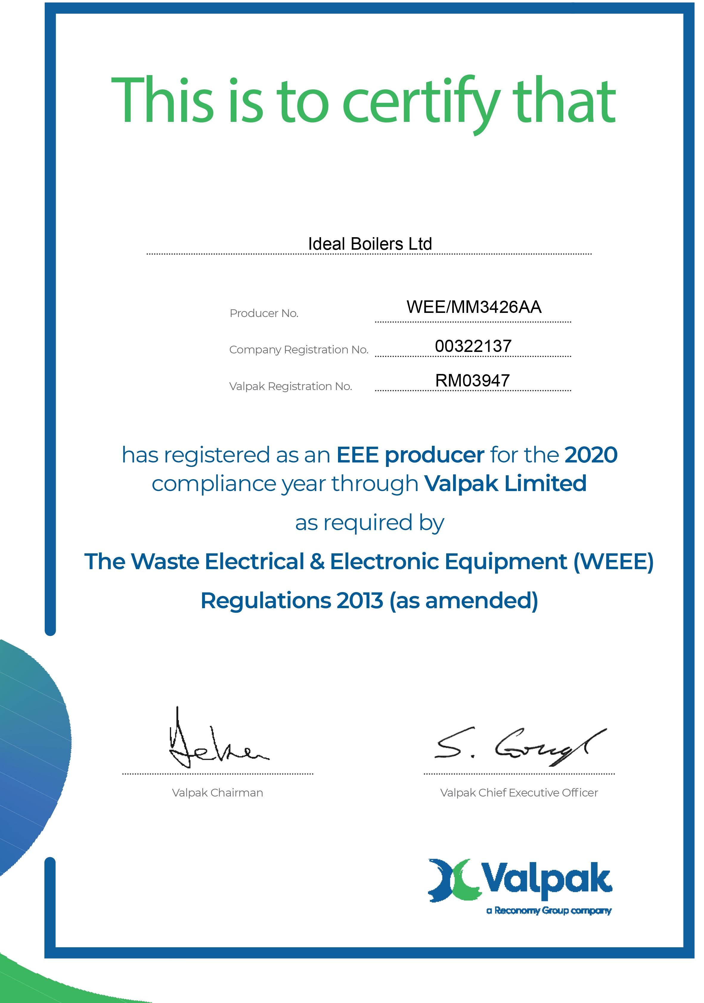 Weee Certificate 2020